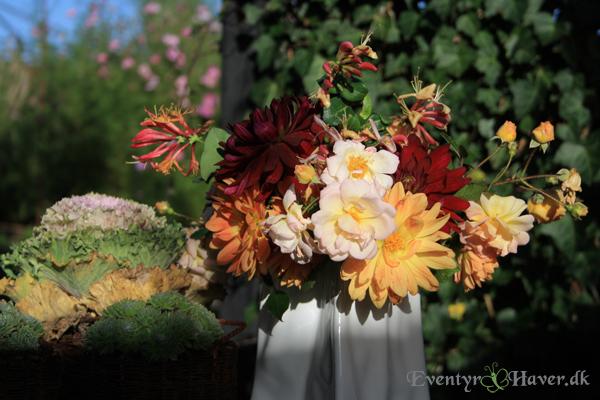 Efterårsbuket til Hanne, Roser dahlia og kaprifolier