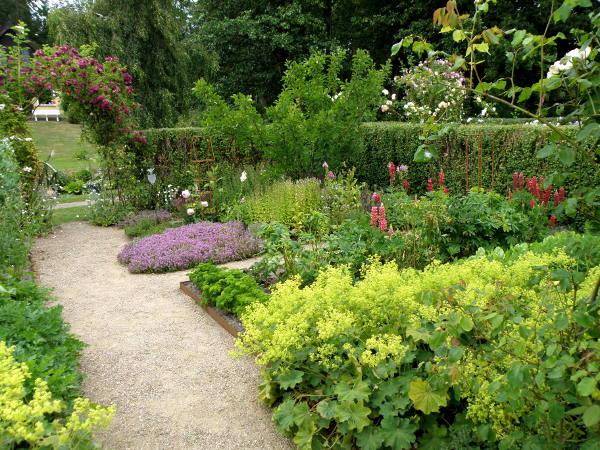 Køkkenhave med både grøntsager, krydderurter og blomster