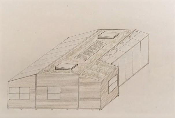 Design af vores kolonihavehus tegnet i 3D, tegnet med blyant.