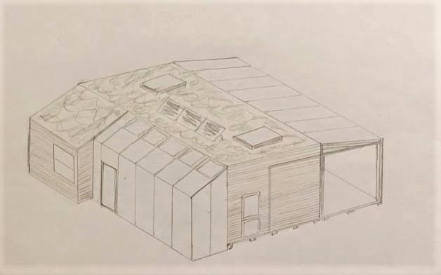 Her ses en 3D tegning af vores design af vores kolonihavehus