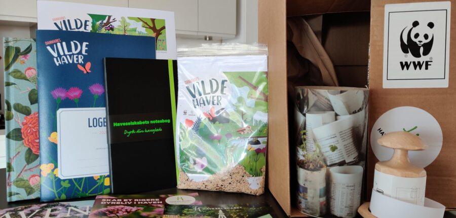 Danmarks Vilde Haver en startpakke fyldt med gode ting til brug i vores eksperiment i samarbejde med private haveejere WWF og Haveselskabet