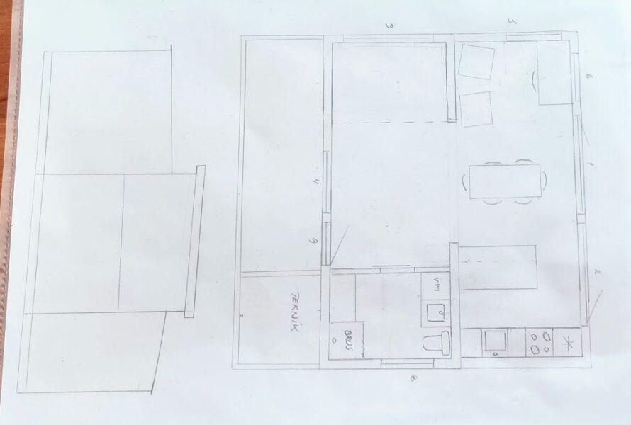 tegning af vores bæredygtige kolonihavehus