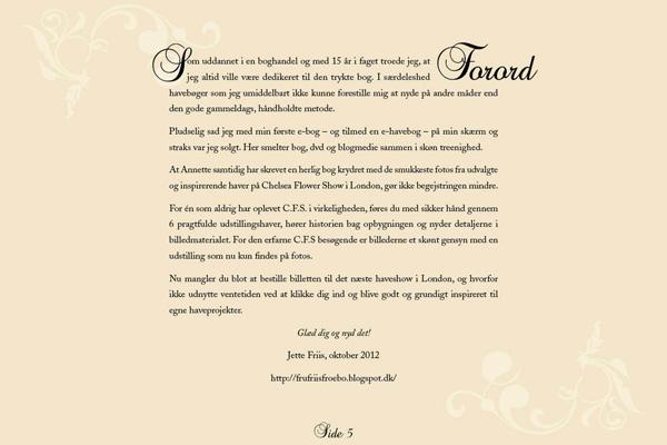 Forord af Jette Friis til e-bogen Inspirerende haver - Chelsea 2012