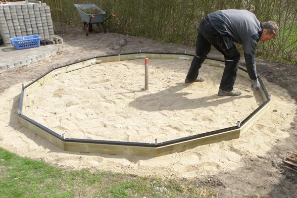 Markering af hvor betonrør til fundament skal sættes