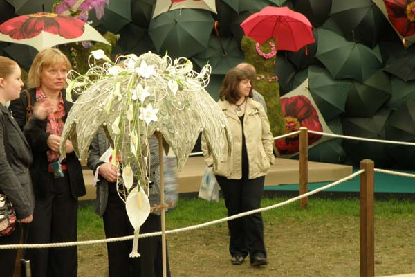 Smuk paraply af dejlige blomster