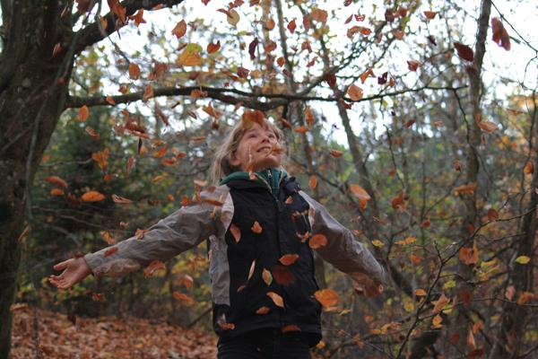 at kaste med blade i skoven