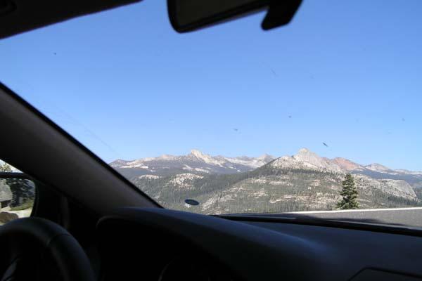 Udsigt fra bilen fra Glacier point