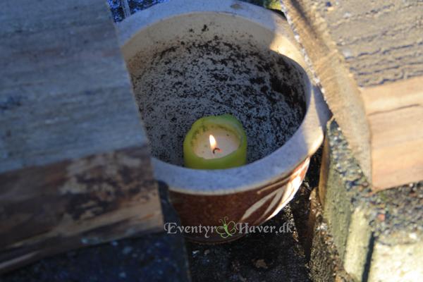 Bruge en blomsterkrukke til at sætte stearinlyset i